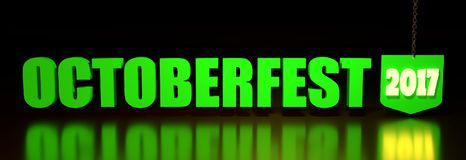 Oktoberfest green text. Oktoberfest green word and 2017 year number hanging from a chain on dark background. 3D rendering Royalty Free Stock Photos