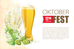 Oktoberfest greeting card with beer glass, Hops and barley ears in pastel. Stock Images