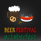 Oktoberfest greeting card. Poster with mug of beer Royalty Free Stock Photography