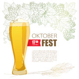 Oktoberfest greeting poster with beer glass, Hops and barley ears  on white. Outline hops, barley for beerfest Oktoberfest Stock Image