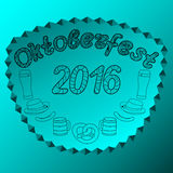 Oktoberfest 2016. Hand drawn illustrations. Oktoberfest set of beer. Hand drawn illustrations. Coloring zen tangle with frame Royalty Free Stock Images