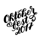 Oktoberfest 2017 hand drawn lettering. Vector lettering illustration isolated on white. Template for Traditional German Stock Photography