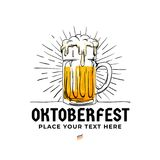 Oktoberfest hand drawn logo badge. Old style full glass of beer with sun rays background illustration for Munich beer festival. Concept design. Poster, banner stock illustration