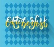 Oktoberfest handwritten lettering logotype on blue Bavarian pattern. Beer Festival vector banner. yellow white lettering stock illustration