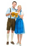 Oktoberfest. Happy bavarian couple in dirndl with oktoberfest beer stock photos