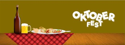 Oktoberfest header or banner design with beer mugs, bottle and s. Ausage, fork, pretzel, hops, wheat grain in plate with checkered napkin on wooden table vector illustration
