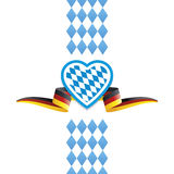 Oktoberfest heart Bavaria Germany flag ribbon background Royalty Free Stock Photos