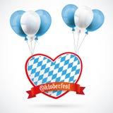 Oktoberfest Heart Red Banner Balloons Stock Images