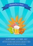 Oktoberfest is Here 2017 Vector Illustration. Oktoberfest is here Come with your friends, 16 september till 4 october, promo banner vector illustration isolated Stock Photos