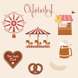 Oktoberfest icons. Carousel/merry-go-round, cookie heart, beer, pretzel and bratwurst, candy/ice cream cart, ferris wheel. Vector art Royalty Free Stock Photos