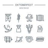 Oktoberfest icons line set. Stock Photos