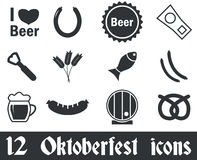 12 Oktoberfest icons set. Black, on white background vector illustration