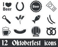12 Oktoberfest icons set. Black, on white background Vector Illustration