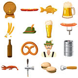 Oktoberfest icons set in cartoon style Royalty Free Stock Images