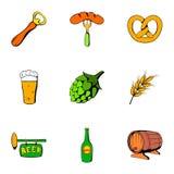 Oktoberfest icons set, cartoon style Royalty Free Stock Image