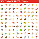100 Oktoberfest icons set, isometric 3d style Stock Photos