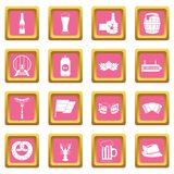 Oktoberfest icons pink. Oktoberfest icons set in pink color isolated vector illustration for web and any design royalty free illustration