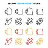 Oktoberfest ikony ustawiać Zdjęcia Stock