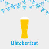 Oktoberfest. Illustration with Oktoberfest typography beer glass in flat style and buntings Stock Image