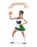 Oktoberfest. Illustration in vector about traditional beer festival in German. Octoberfest concept. Flat design cartoon illustration with man and woman dancing Stock Image