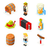 Oktoberfest isometric 3d polygon icons set beer Royalty Free Stock Images