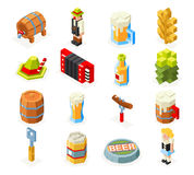 Oktoberfest isometric 3d polygon lowpoly icons set beer keg man woman accordion cap foam sausage fork glass flat design Royalty Free Stock Images