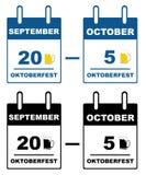 Oktoberfest kalender Arkivfoton