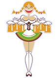 Oktoberfest-Kellnerin mit Gläsern Bier. Vektor w Lizenzfreie Stockfotos