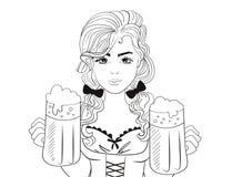 Oktoberfest kvinnaservitris med öl Skissa vektorn cartoon Isolerad konst vektor illustrationer