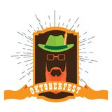 Oktoberfest label with an abstract hipster avatar. Vector illustration design vector illustration