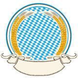 Oktoberfest label . Bavaria flag background with s. Croll for text   isolated on white Royalty Free Stock Photos