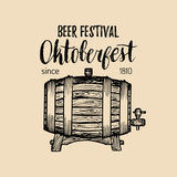 Oktoberfest label. Beer festival sign with hand sketched wooden barrel. Vector vintage brewery badge. Wiesn symbol.  Royalty Free Stock Images