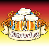 Oktoberfest label with beer and pretzels Royalty Free Stock Photography