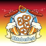 Oktoberfest label with beer, pretzels and sausages Stock Image
