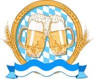 Oktoberfest  label design. With beer glasses Stock Image