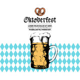Oktoberfest label. Vector beer festival flyer, poster. Brewery badge with vintage hand sketched glass mug. Royalty Free Stock Photo