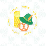Oktoberfest Leaflet with no Text. Oktoberfest Leaflet with Three Traditional Symbolic Objects Placed in Frame. Background with Contour Hop Twigs. Vector EPS 10 Stock Images