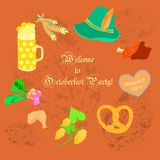 Oktoberfest Leaflet with Symbolic Objects. Oktoberfest Leaflet with Symbolic Festival Objects with Retro Styled Text and Autumn Leaves Print on the Orange Stock Image