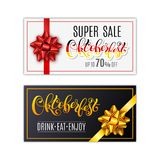 Oktoberfest letterin. Black holiday gift cards with golden and red ribbon and bow. Template for a business card, banner. Poster, notebook, invitation. Vector Royalty Free Stock Photography