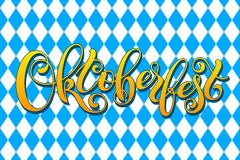 Oktoberfest letterin on traditional bavarian holiday background. Template for a business card, banner, poster, notebook Stock Photography