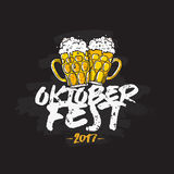 Oktoberfest 2017. Lettering and calligraphy. Oktoberfest 2017. Vector illustration on a black background. German folk festivities. Lettering and calligraphy. Two Royalty Free Stock Images