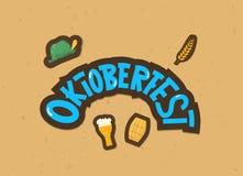 Oktoberfest lettering composition. Vector illustration. Oktoberfest lettering composition. Handwritten text with sticker beer mug, cask, hat decoration. Vector stock illustration