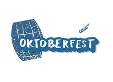 Oktoberfest lettering composition. Vector illustration. Oktoberfest lettering composition. Handwritten sticker text with beer cask decoration. Vector vector illustration