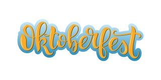 Oktoberfest vector lettering. Hand written Oktoberfest inscription. Isolated typography print. stock illustration