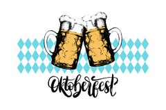 Oktoberfest,lettering on on rombic pattern background.Vector beer festival poster with vintage hand sketched glass mugs. royalty free illustration