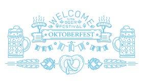 Oktoberfest line logo design. Welcome to the beer festival. Invitation to the Beer Festival. Vector illustration Stock Image
