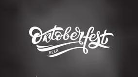 Oktoberfest loga animacja Piwna festiwalu ruchu grafika Materiał filmowy Bawarski festiwalu projekt na szarym tle z zbiory