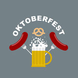 Oktoberfest logo. Beer mug with foam. Fried sausages and fork. Royalty Free Stock Photos