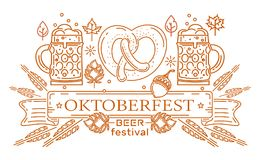 Oktoberfest logo design. Poster with line icons and lettering for Oktoberfest. Beer festival. Vector illustration Royalty Free Stock Photography
