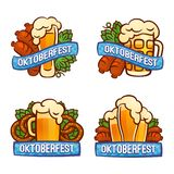 Oktoberfest logo set, cartoon style royalty free illustration
